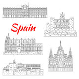 Famous tourist sights of Spain thin line icon. Spanish tourist sights icon of fortress Alhambra in Granada, Royal Palace of Madrid, Cathedral of Santa Maria in royalty free illustration
