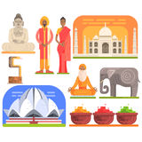Famous Touristic Attractions To See In India. Traditional Tourism Symbols Of Indian Culture Including Clothing. Architecture And Religious Habits. Set Of Stock Photos