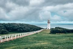 Cape Otway lighthouse scenic view, Australia, Victoria. Famous touristic Cape Otway lighthouse  scenic view, with a lonely people on top, Australia in Victoria stock photos