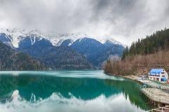 Famous touristic nature landmark Ritsa lake Stock Photos