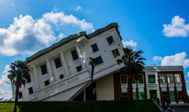 Upside down house in Batumi stock photo