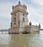 The famous Tower of Belem in the Moorish style Royalty Free Stock Photo