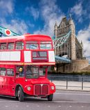 Tower Bridge with double decker bus in London, England, UK Royalty Free Stock Photo