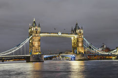 Famous Tower Bridge in the evening, London Royalty Free Stock Photos