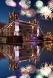 Tower Bridge with firework in London, England celebration of the New Year royalty free stock photo