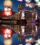 Tower Bridge with firework in London, England celebration of the New Year stock photo