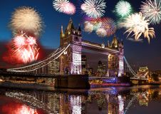Tower Bridge with firework in London, England celebration of the New Year royalty free stock image