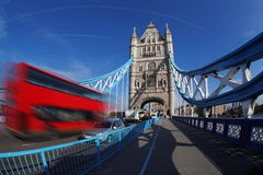 Famous Tower Bridge in London, England. Famous Tower Bridge in London with red city bus, England Royalty Free Stock Photo