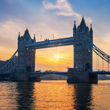 Famous Tower Bridge at sunrise Stock Images