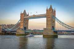 Famous Tower Bridge at sunset, London, England Stock Images