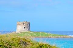 Famous tower in La Pelosa beach Stock Photography