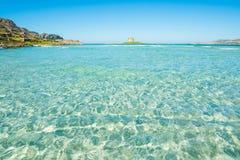 Famous tower in La Pelosa beach in Stintino. Sardinia, Italy Royalty Free Stock Image