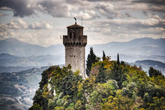 Famous tower in San Marino in hdr Stock Photos
