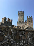 The famous tower in Sirmione. As a centre point in Sirmione, lay one of the countrys most famous buildings. The tower has most tourist visitors in Italy. Blue Royalty Free Stock Images