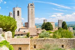 Famous towers at the medieval  town of San Gimignano in Italy Royalty Free Stock Photo