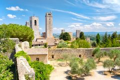Famous towers at the medieval  town of San Gimignano in Italy Stock Images