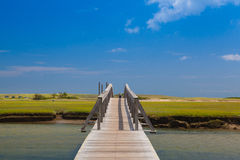 Famous Town Neck Beach Boardwalk in Sandwich, Massachusetts, USA Stock Photography