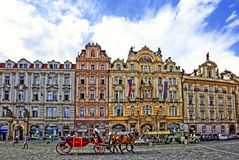 The famous townhall square in Prague stock images