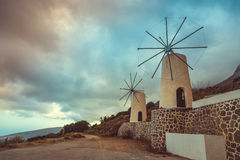 The famous tradition windmills on Crete island, Lassithi, Greece Royalty Free Stock Photo
