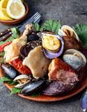 Famous traditional dish of the south of Chile and the Chiloe archipelago - Curanto al Hoyo, Kuranto. Different seafood stock image
