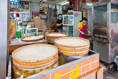 Famous traditional macao almond cookies production Royalty Free Stock Images