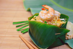 Famous traditional thai food shrimp pad thai. Stock Photography