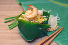 Famous traditional thai food shrimp pad thai. Stock Image