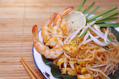 Famous traditional thai food shrimp pad thai. Royalty Free Stock Photo