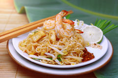 Famous traditional thai food shrimp pad thai. Royalty Free Stock Images