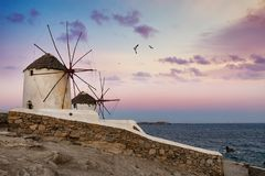 The famous, traditional windmills over Mykonos town during sunrise stock photos