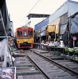 Thailand train market Stock Photography
