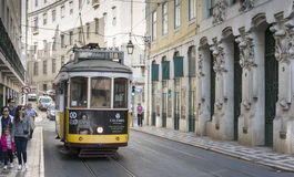 Famous tram in lissabon Royalty Free Stock Image