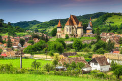 Famous Transylvanian touristic village with saxon fortified church, Biertan, Romania. Fabulous saxon fortified church in best Transylvanian touristic village royalty free stock images