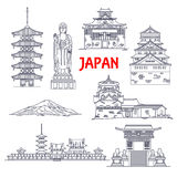 Famous travel landmarks of Japan thin line icon Royalty Free Stock Photography