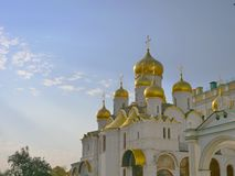 Famous travel spot architecture church in the the Kremlin, Moscow Russia.  stock photos