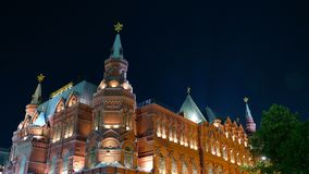 Famous travel spot architecture in Red Square Moscow Kremlin at night, Russia.  stock photography