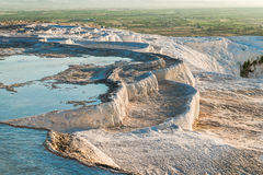 Famous travertine pools and terraces in Pamukkale Stock Images