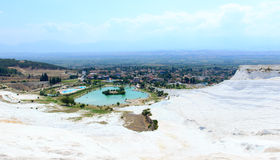 Famous travertine pools and terraces at Pamukkale, Turkey Royalty Free Stock Images