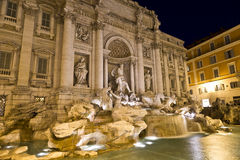 The famous Trevi Fountain at night Royalty Free Stock Photography