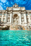 The Famous Trevi Fountain , rome, Italy. Wide angle view of The Famous Trevi Fountain, rome, Italy Stock Image