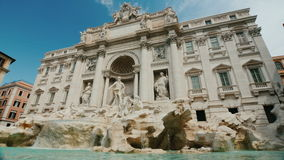 The famous Trevi Fountain in Rome. Popular place among tourists from all over the world. Wide angle shot. The famous Trevi Fountain in Rome. Popular place among stock footage