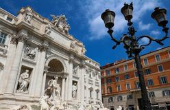 The famous Trevi fountain at sunny day, Rome, Italy. The Trevi Fountain is a fountain in the Trevi district in Rome. it is the largest Baroque fountain in the Stock Photography