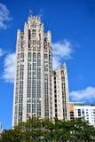 Famous Tribune building, Chicago. Historical revival, Tribune building in Chicago at North Michigan Avenue and the Michigan Avenue. Chicago, Illinois, United Stock Image