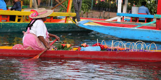 The famous trjineras or flat bottom boats of xochimilco, mexico city Stock Images