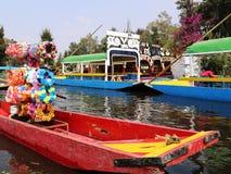 The famous trjineras or flat bottom boats of xochimilco, mexico city Stock Photo