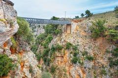 Famous truss bridge over Aradena Gorge, Crete. Island, Greece Royalty Free Stock Images