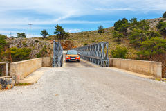 Famous truss bridge over Aradena Gorge, Crete Royalty Free Stock Photography