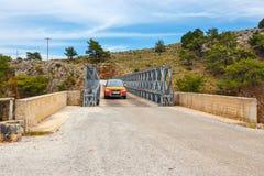Famous truss bridge over Aradena Gorge, Crete. Island, Greece Royalty Free Stock Photography