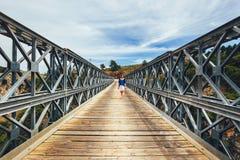 Famous truss bridge over Aradena Gorge. Crete Island, Greece Stock Images