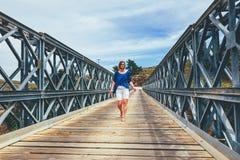 Famous truss bridge over Aradena Gorge. Crete Island, Greece Royalty Free Stock Photos